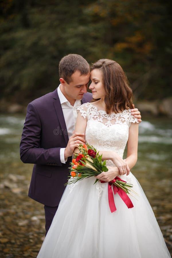 拥抱在河附近的新娘和新郎 免版税库存照片