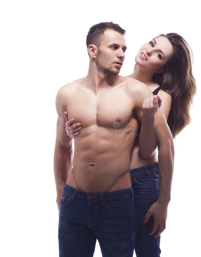 一性感年轻夫妇拥抱 库存照片