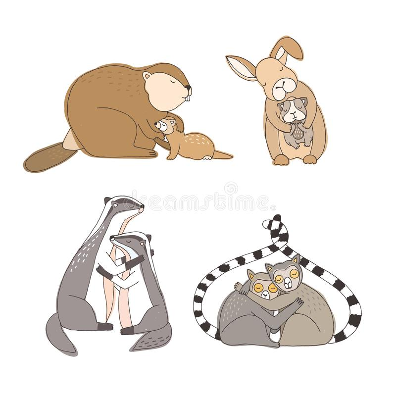 拥抱在白色背景隔绝的动画片动物的汇集-兔子,海狸,白鼬,试验品,狐猴,獾 皇族释放例证