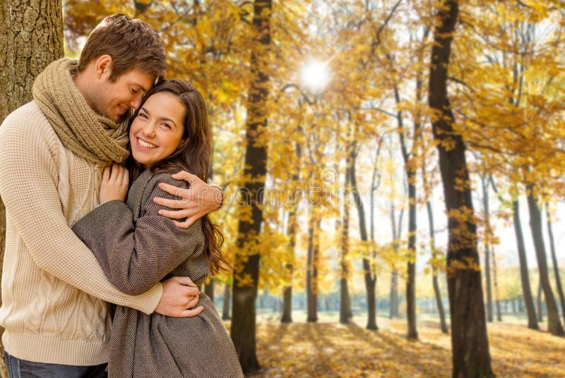 拥抱在秋天公园的微笑的夫妇 库存照片