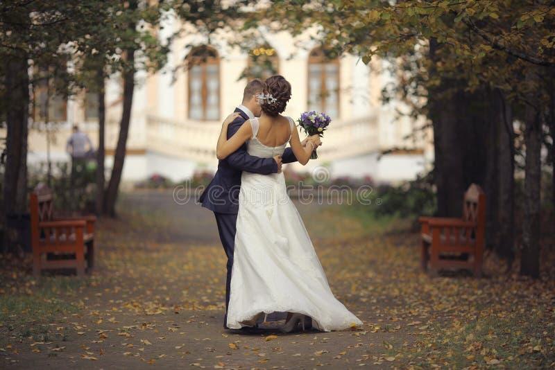 拥抱在秋天公园的新娘和新郎 库存照片