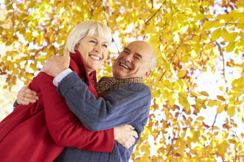 拥抱在秋天树下的资深夫妇 库存图片