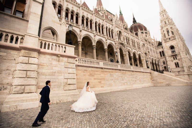 拥抱在老镇街道的新娘和新郎 婚姻的夫妇在布达佩斯走在澳洲国会大厦附近 免版税库存照片