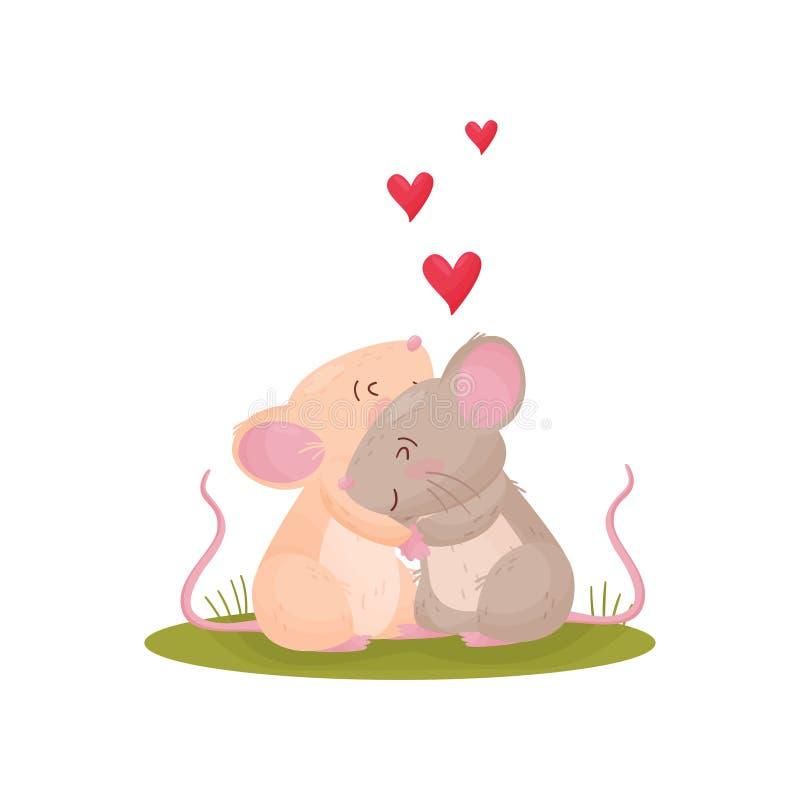 拥抱在草甸的对逗人喜爱的老鼠 r 库存例证