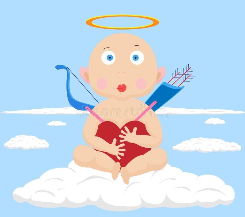 拥抱在蓝天的一点惊奇的丘比特心脏 库存例证