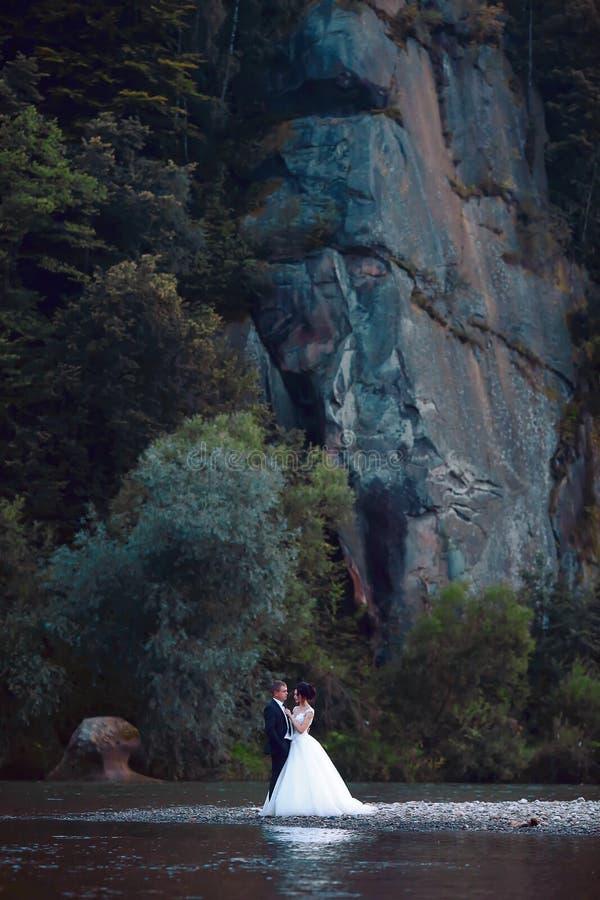 拥抱在蓝色湖,肉欲的新郎拥抱的华美的新娘附近的典雅的美好的婚姻的夫妇从在河附近的后面 婚礼da 免版税库存图片