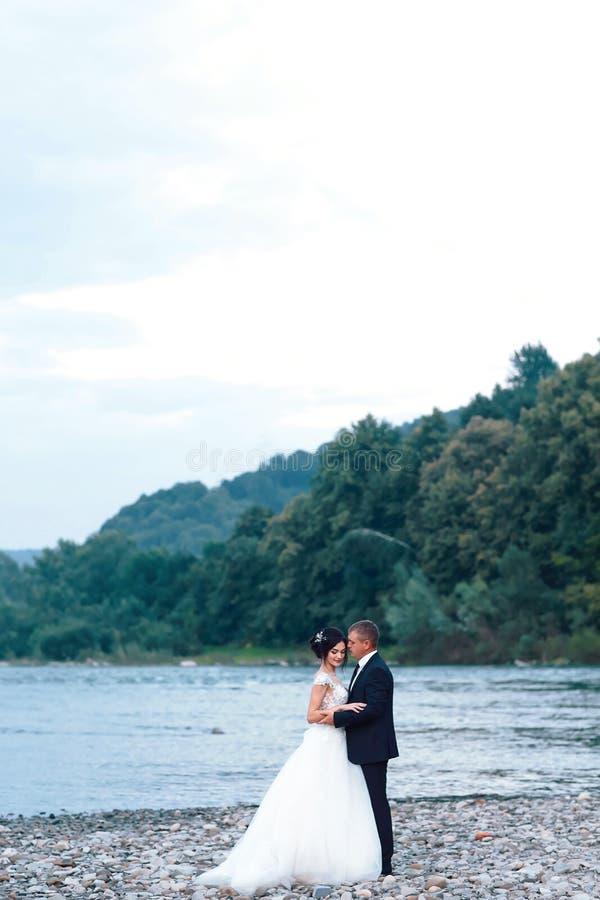 拥抱在蓝色湖,肉欲的新郎拥抱的华美的新娘附近的浪漫新婚佳偶夫妇从后面在河附近 库存照片