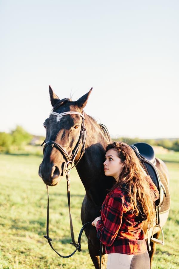 拥抱在领域的女孩纯血统黑马 免版税库存图片