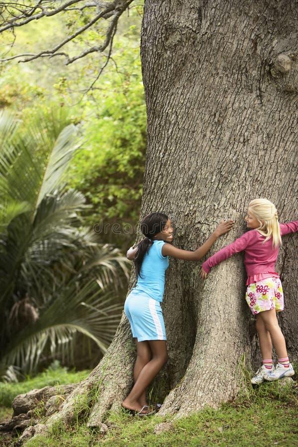 拥抱大树的女孩 免版税库存照片