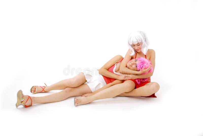 拥抱女朋友 免版税库存图片
