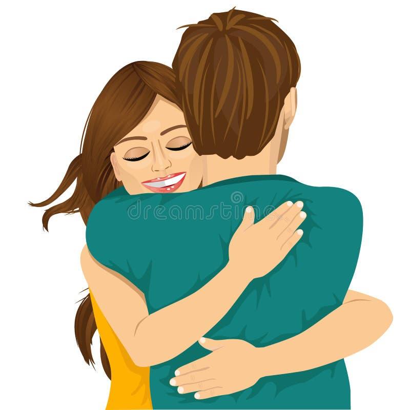 拥抱她的人的可爱的年轻西班牙妇女 皇族释放例证