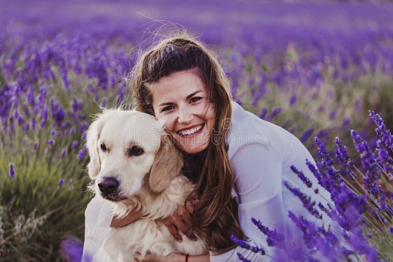 拥抱她的在淡紫色领域的美女金毛猎犬狗在日落 宠爱户外和生活方式 库存照片