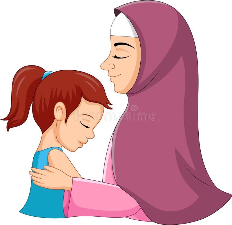 拥抱她的女儿的一个回教母亲 皇族释放例证
