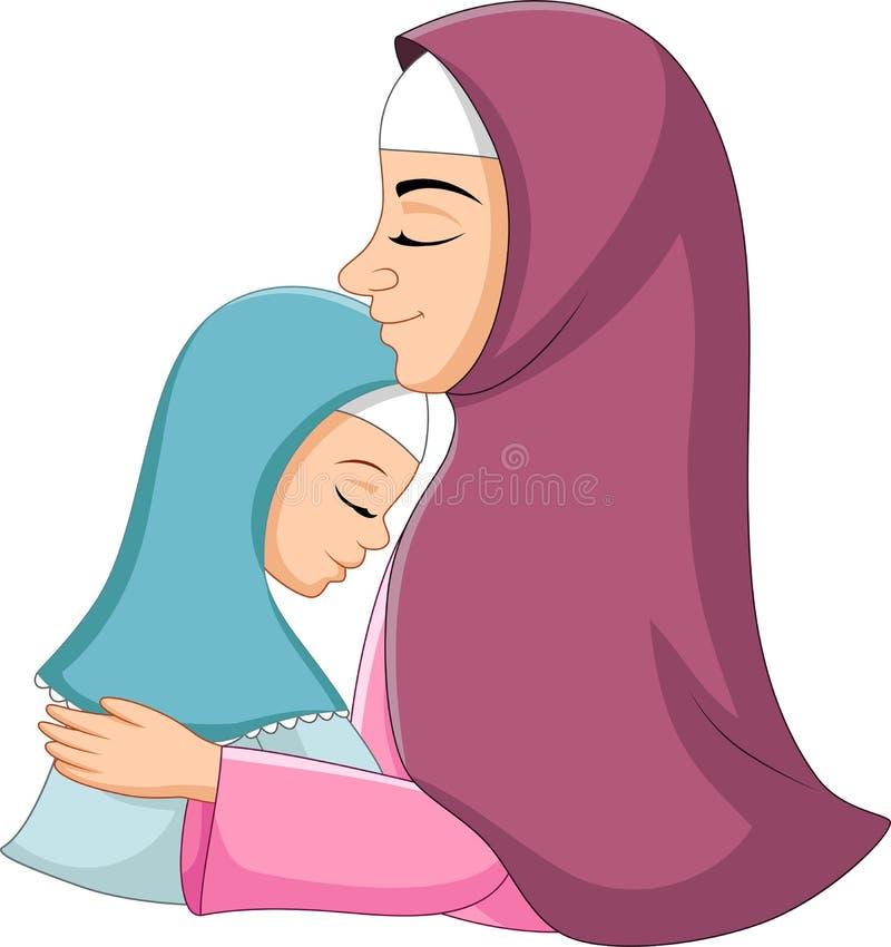 拥抱她的女儿的愉快的回教母亲 向量例证