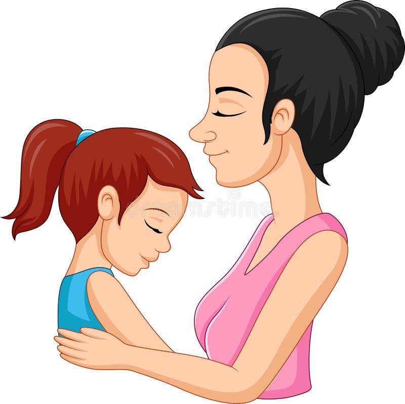 拥抱她的女儿的母亲 皇族释放例证