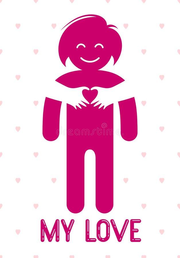 拥抱她的恋人或朋友的心爱的小心妇女手从后面,传染媒介象商标或例证在单纯化 库存例证