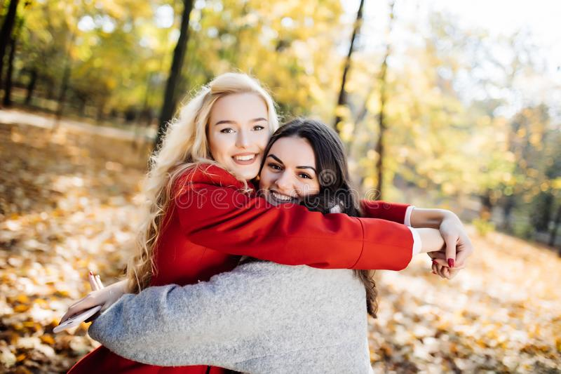 拥抱她的最好的朋友的女孩在秋天公园 免版税库存照片