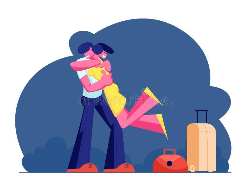 拥抱年轻人和妇女的字符,男性角色在手上的藏品女孩,见面从与手提箱和行李的旅行 向量例证