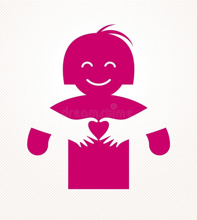 拥抱恋人的爱胳膊显示心形姿态手、恋人妇女拥抱她的伙伴的和份额爱,传染媒介象商标或 库存例证
