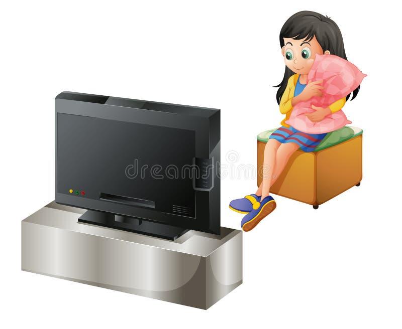 拥抱枕头的一个女孩,当看电视时 库存例证