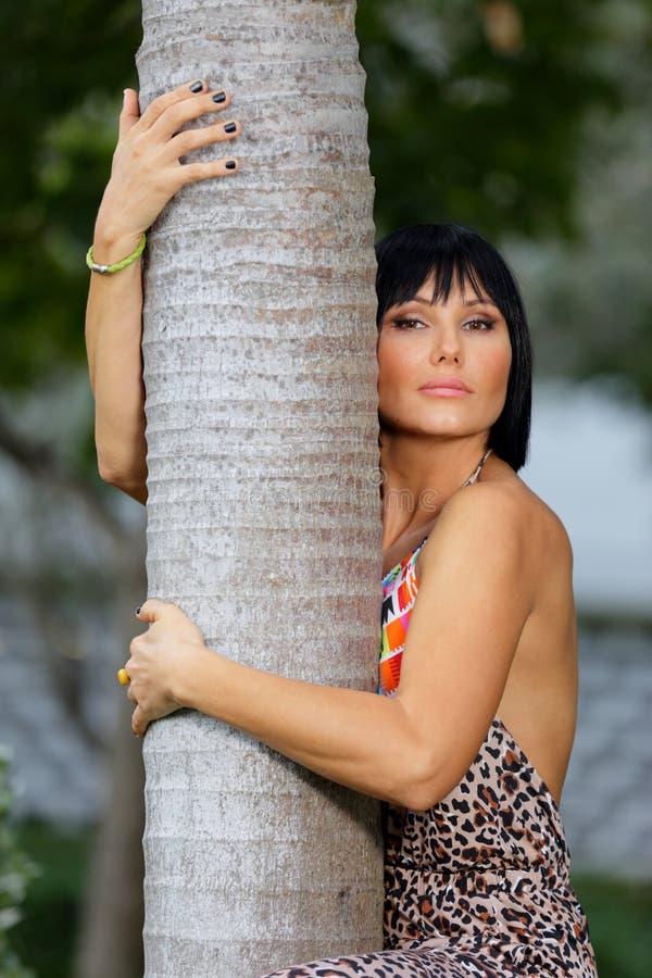 拥抱树的可爱的妇女 库存图片