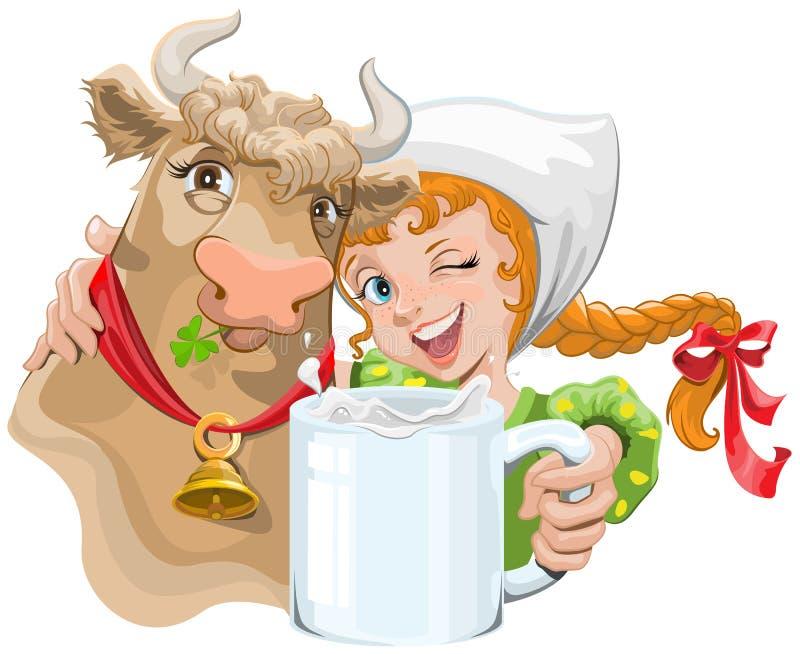 拥抱母牛和农夫的女孩拿着一个杯子牛奶 皇族释放例证