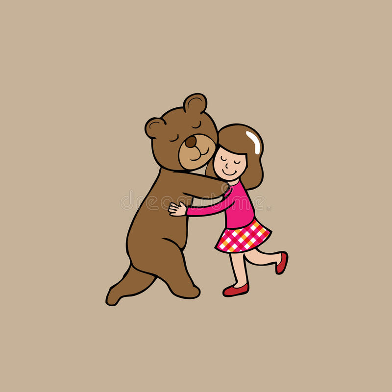 拥抱熊和女孩 向量例证
