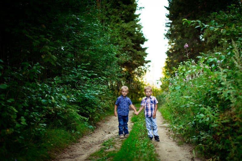 拥抱的两个兄弟室外 免版税库存图片