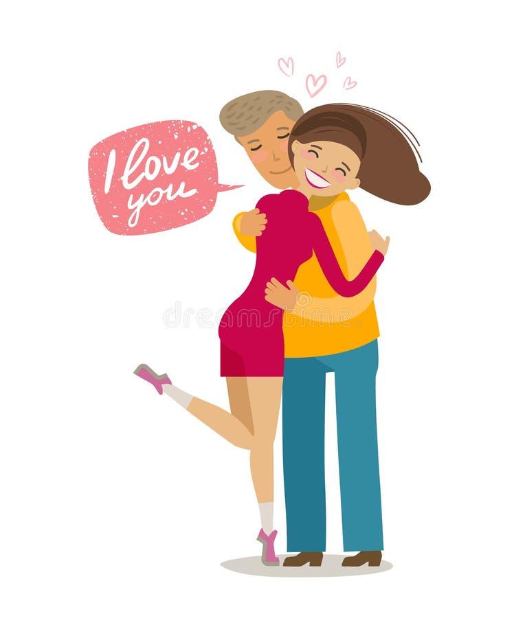 拥抱的愉快的爱恋的夫妇 拉丁文的概念 动画片在平的样式的传染媒介例证 皇族释放例证