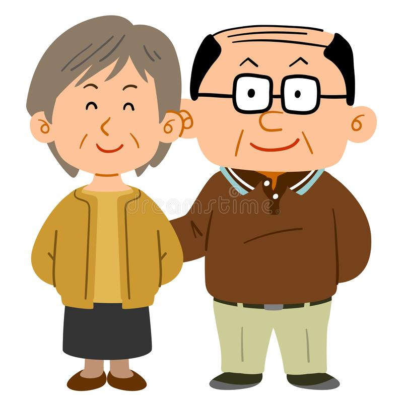 拥抱的资深夫妇、一个稀薄的头发男性和一名短发妇女 库存例证