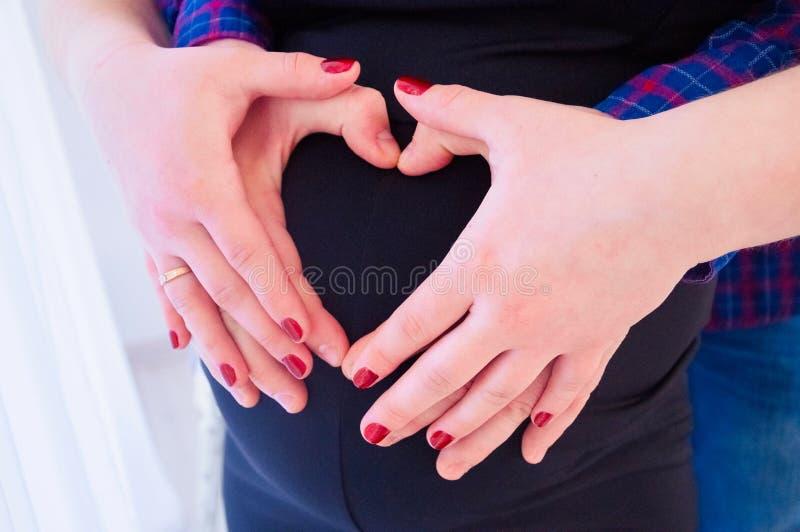 拥抱肚子的美丽的孕妇和她英俊的丈夫的播种的图象 免版税库存照片