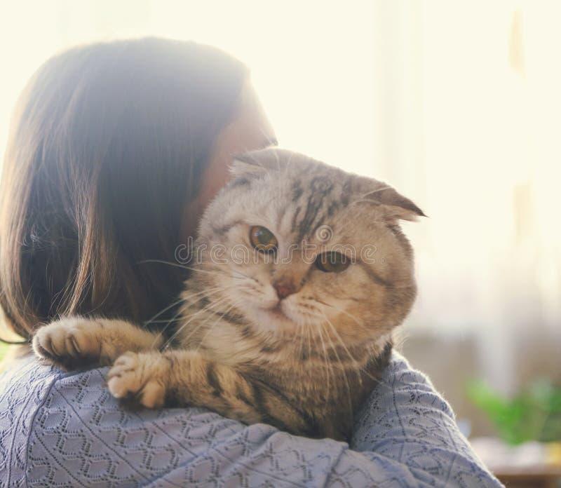 拥抱苏格兰人折叠猫的少妇 库存图片