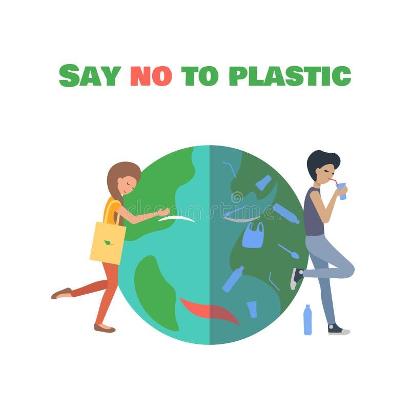 拥抱行星的女孩 对塑料袋说不 皇族释放例证
