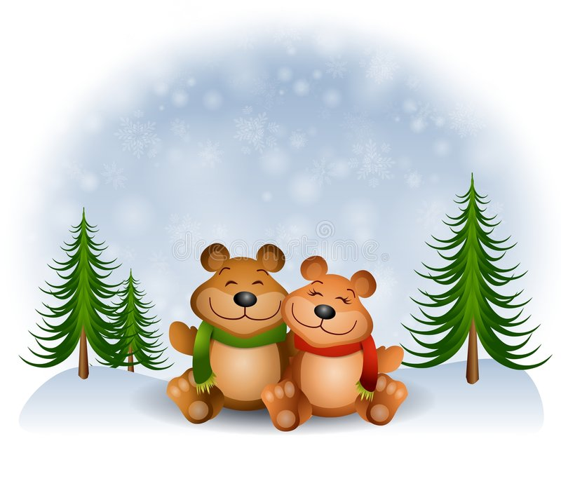 拥抱雪女用连杉衬裤的熊 库存例证