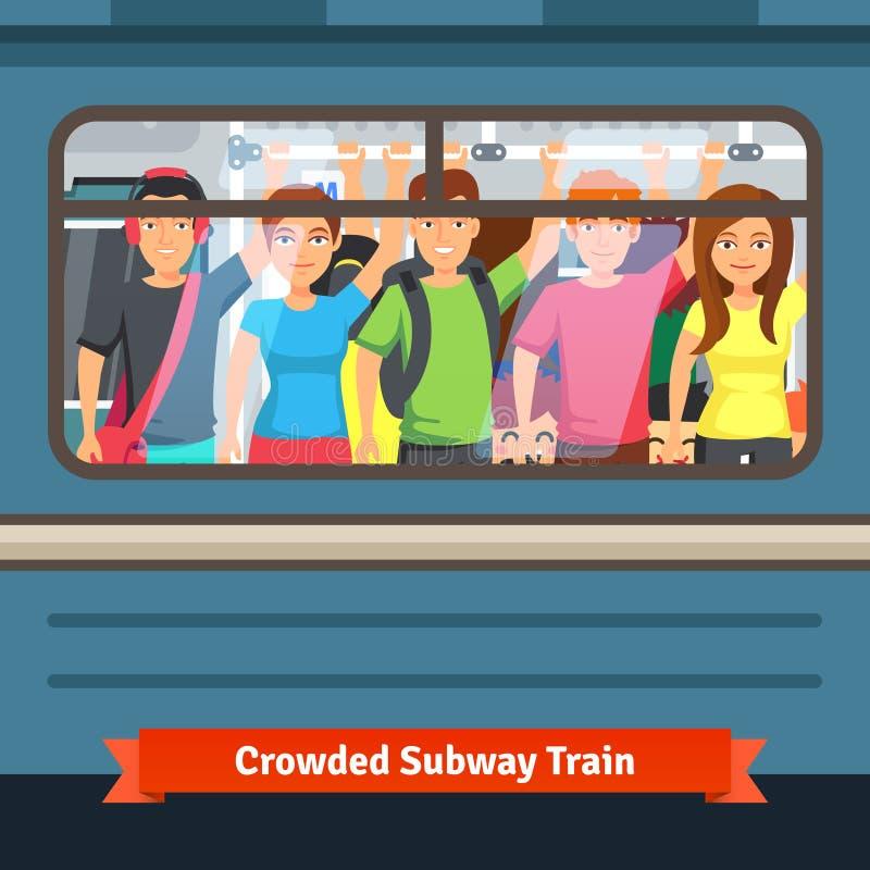 拥挤地铁 向量例证