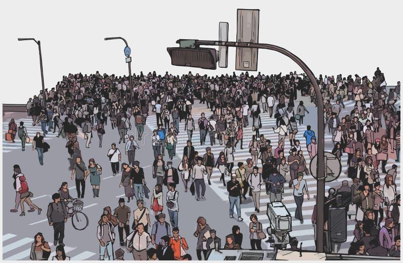 拥挤城市街道横穿的例证从大角度看法的在颜色 向量例证