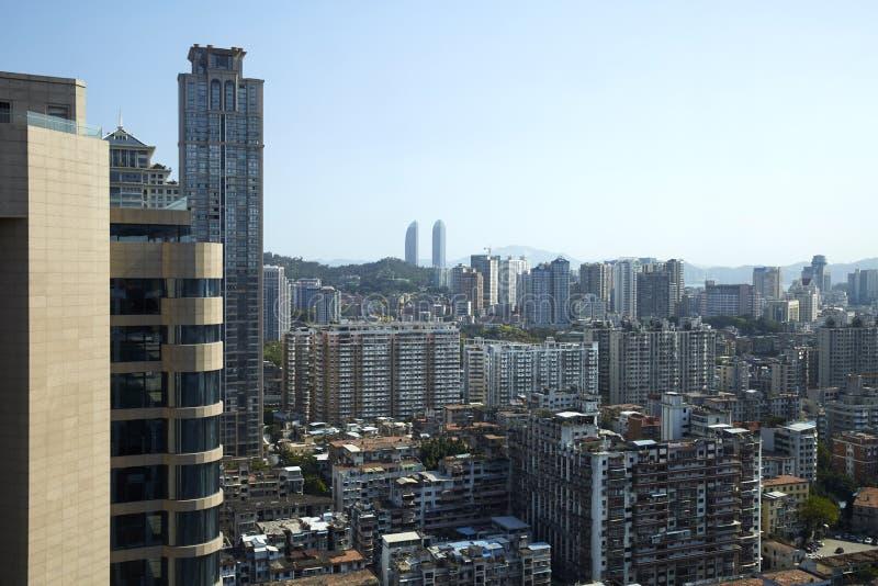 拥挤城市,厦门,中国 免版税库存照片