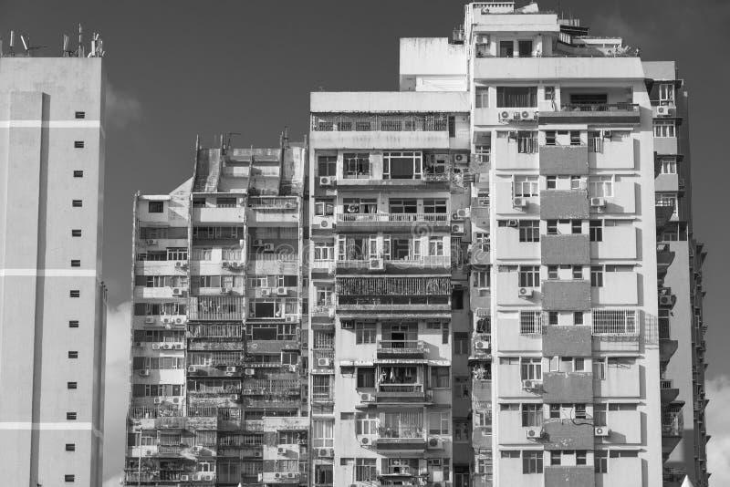 拥挤居民住房在澳门 免版税库存照片