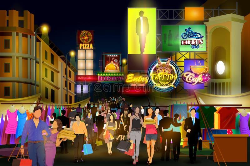 拥挤的街城市夜生活  向量例证