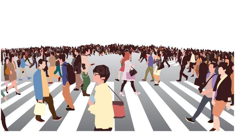 拥挤的街横穿的例证在透视的 皇族释放例证