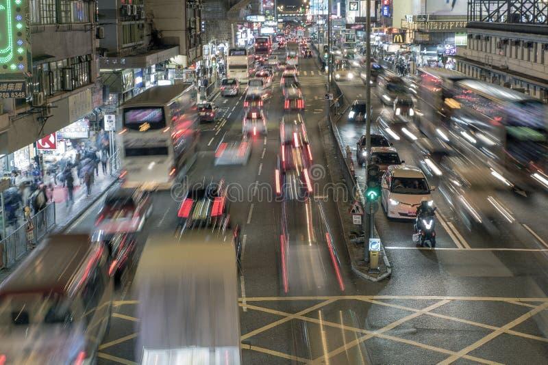 拥挤Mongkok 免版税库存照片