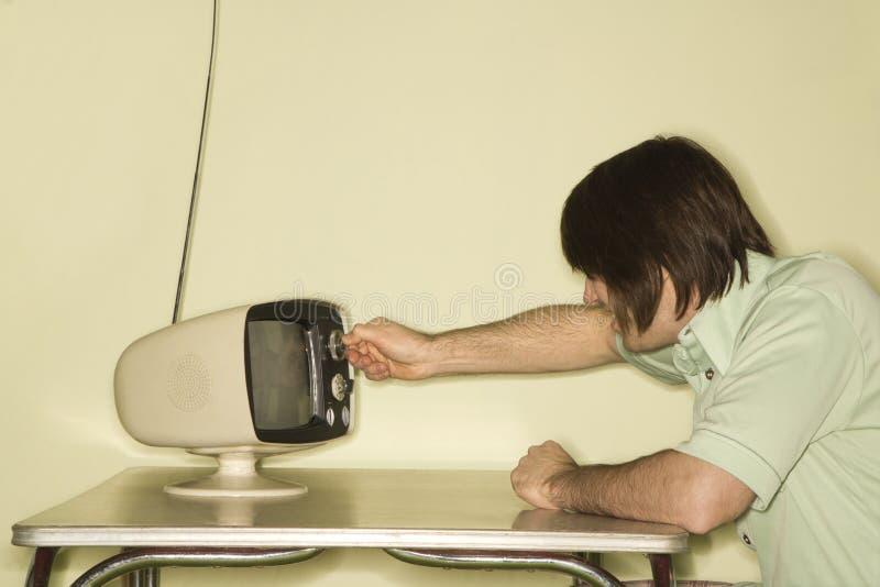 拨号的瘤人电视 库存照片