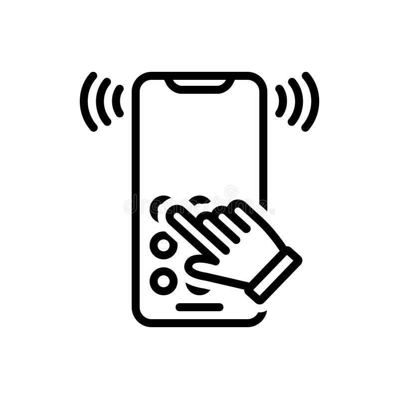 拨号音、电信和圆环的黑线象 库存例证