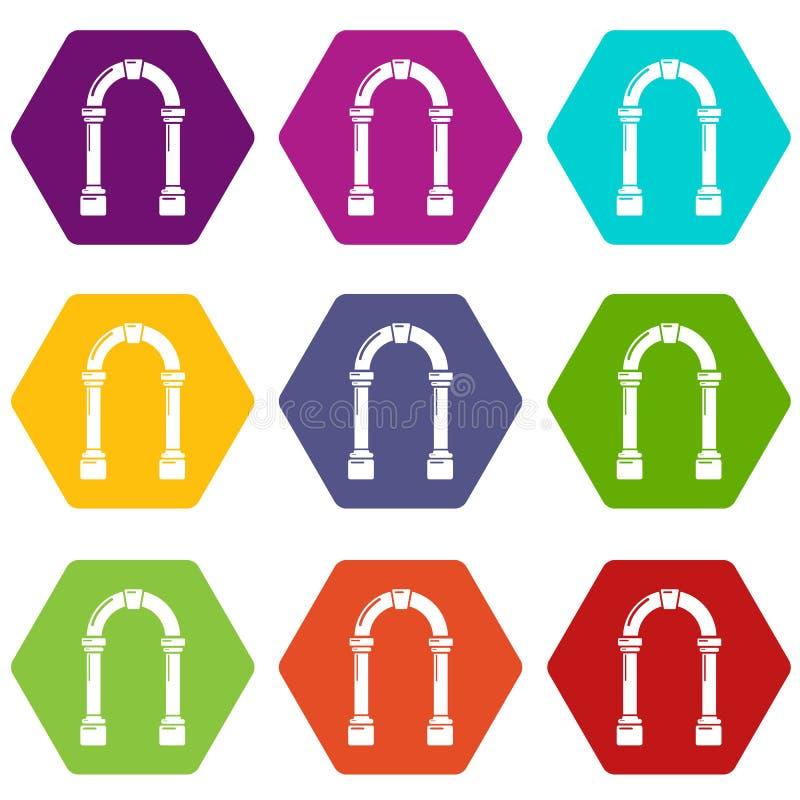 拱道具体象设置了9传染媒介 库存例证