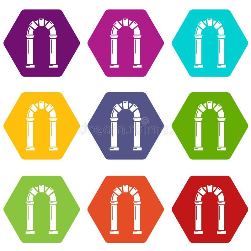 拱道古老象设置了9传染媒介 库存例证