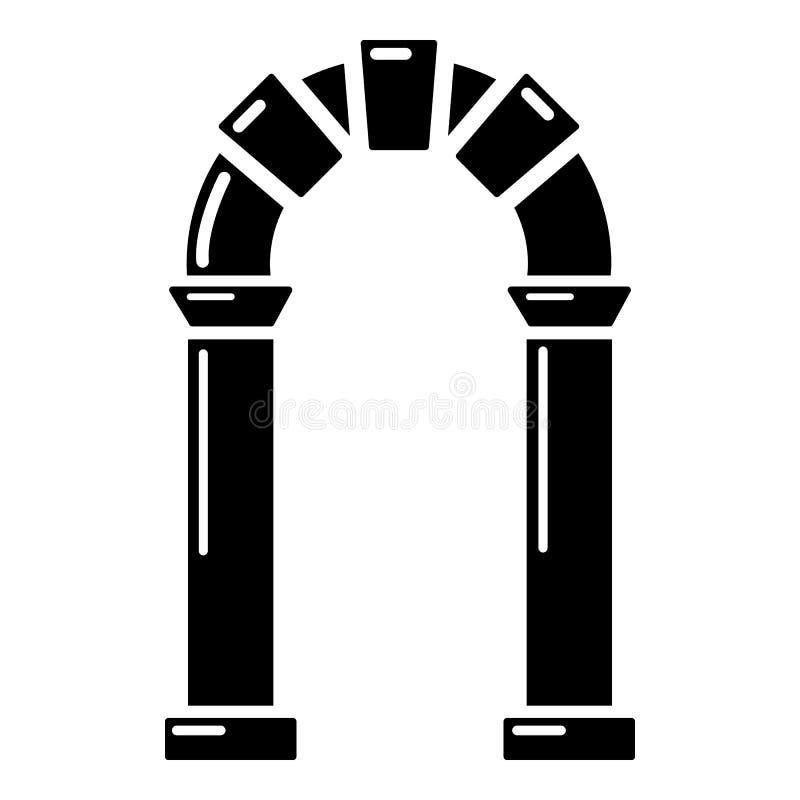 拱道古老象,简单的黑样式 库存例证