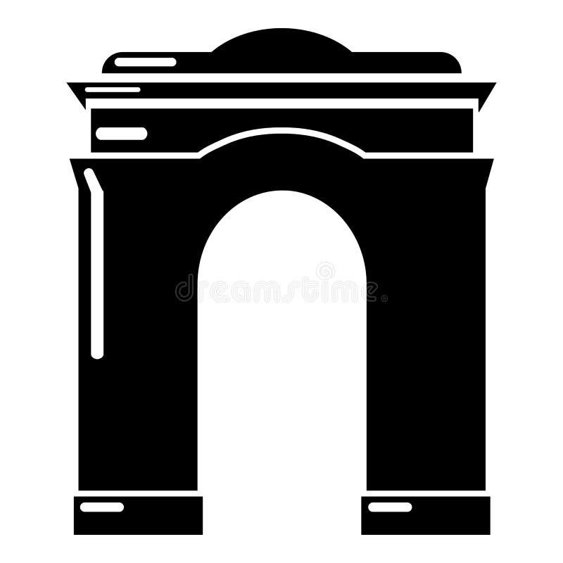 拱道大象,简单的黑样式 库存例证
