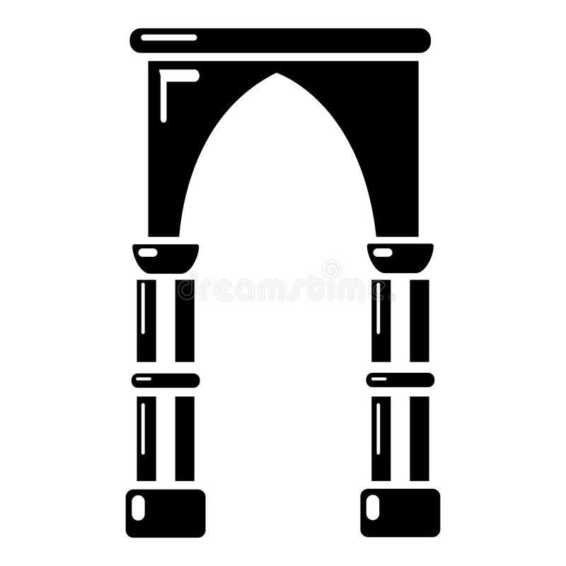 拱道建筑象,简单的黑样式 向量例证