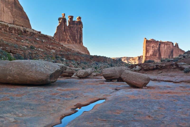 拱门国家公园,在洗涤的足迹 免版税库存照片