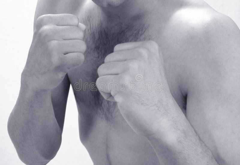 拳击人影子年轻人 免版税库存照片